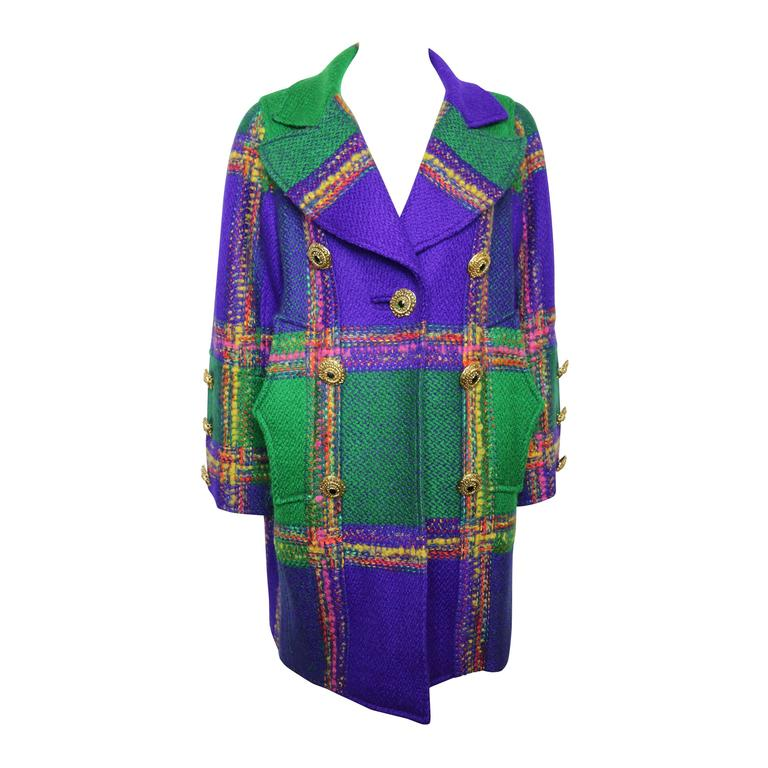 Christian Lacroix  Multi-Coloured Double Breasted Wool Plaid Coat