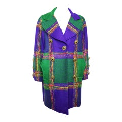 Christian Lacroix  Multi-Coloured Double Breasted Tweed Coat