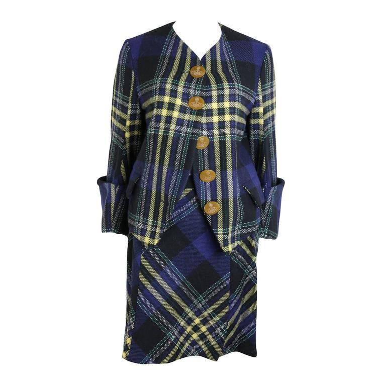Vivienne Westwood Navy Wool Tartan Suit