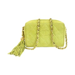 Vintage 90s Chanel Vintage Apple Green Quilted Suede Small Camera Tassel Bag
