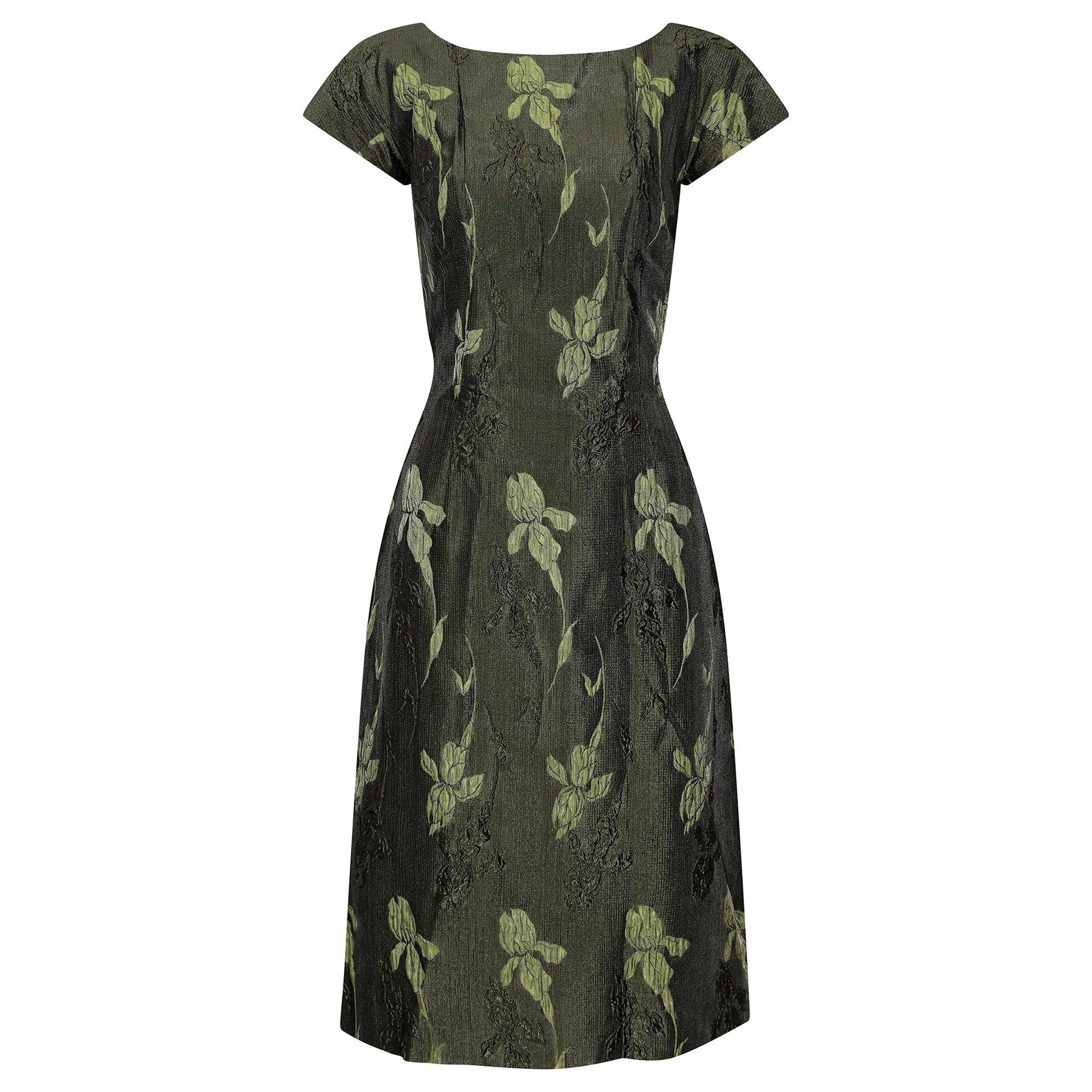 1960s Green Floral Metallic Brocade Dress