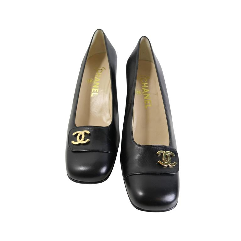 Chanel Classic Black Leather Square Toe Heels with Gold CC Logo 1