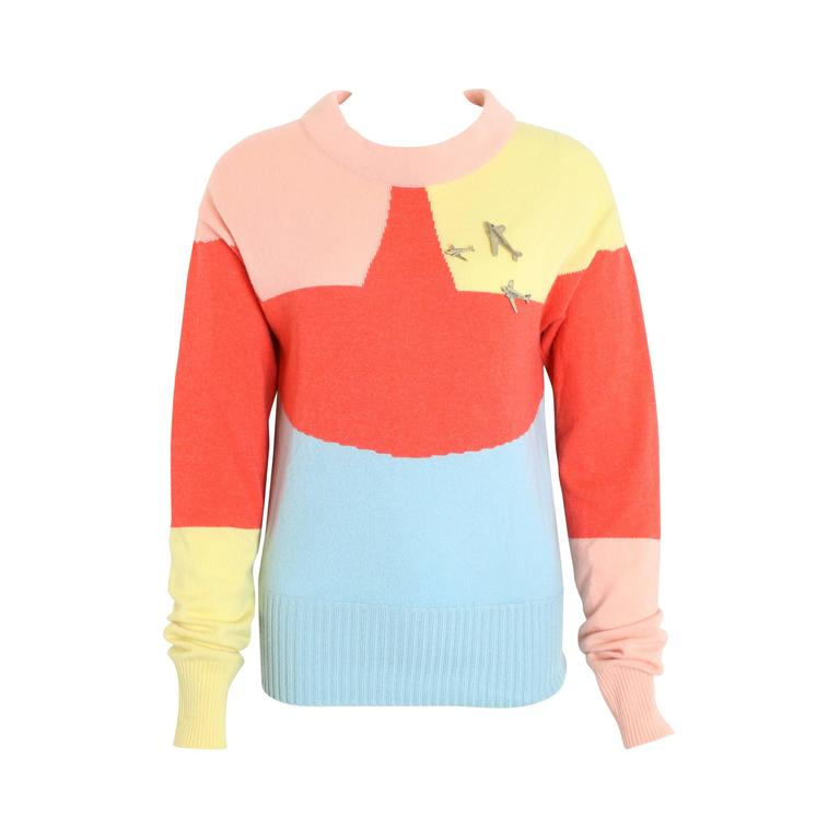 Chanel Colour Blocked Cashmere Sweater
