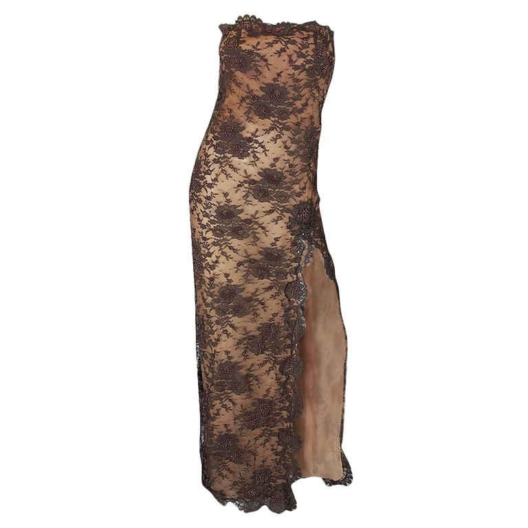 1980s Beaded Lace & Silk John Anthony Strapless Dress