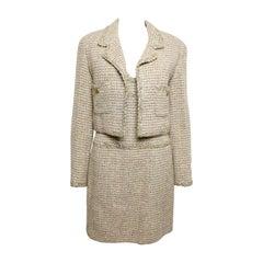 Vintage 94 Chanel Gold Tweed Metallic Dress Suit