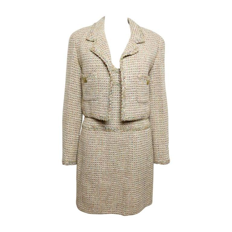 Vintage 94 Chanel Gold Tweed Metallic Dress Suit For Sale