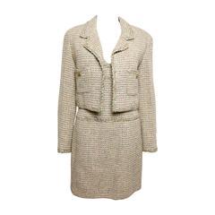 Chanel Gold Tweed Metallic Dress Suit