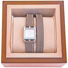 Hermes Etoupe Cape Cod PM Double Tour Watch Classic Gift Below Retail