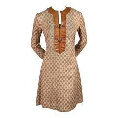1970's GUCCI monogramed canvas tunic dress with leather trim