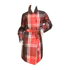 Les Copains Plaid Belted Trench Coat Made in Italy Size 42