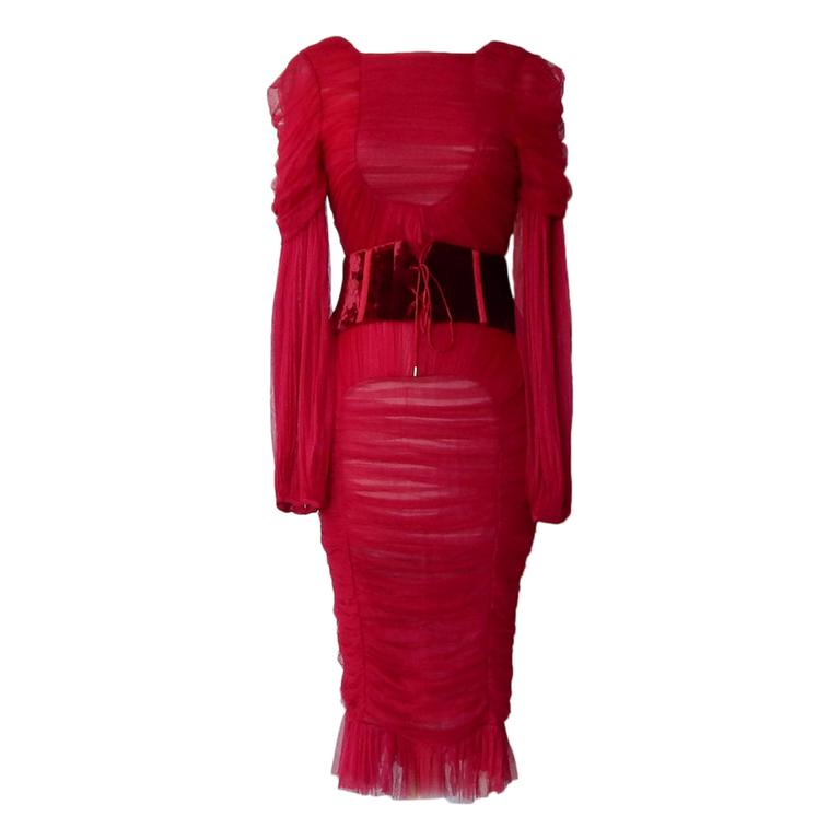 Tom Ford Bergdorf Ad Campaign Cherry Red Ruched Evening Dress 1