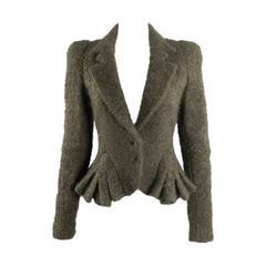 John Galliano Brown Boucle Wool 1950's Vintage Style Jacket