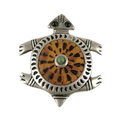 Sterling Silver Native American Wood Turtle Pin Pendant