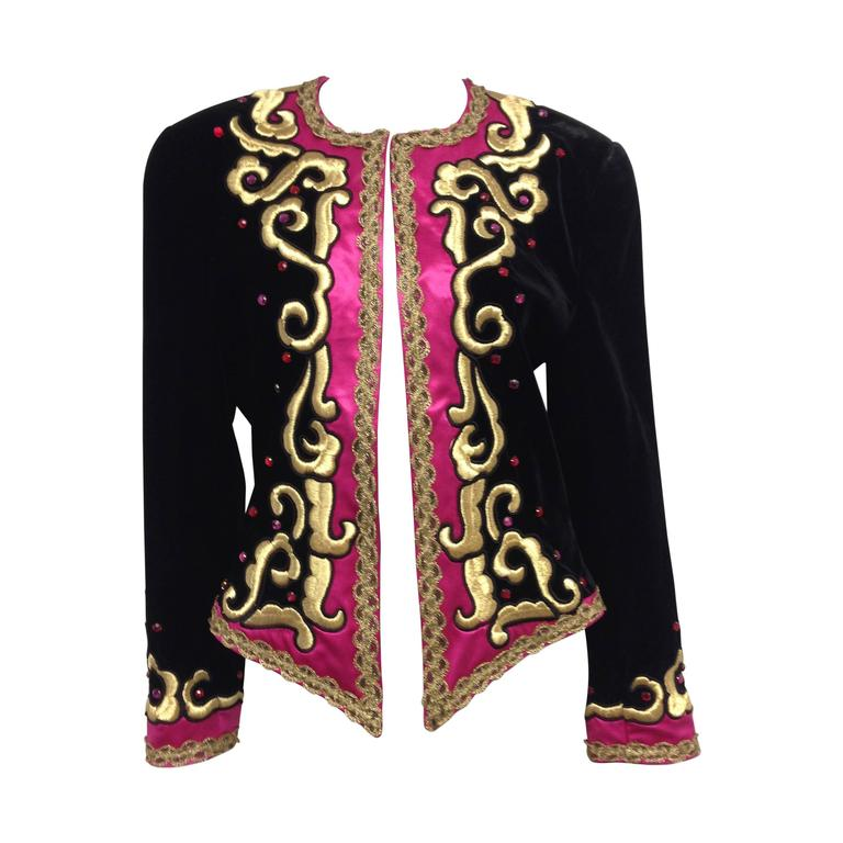 1980s Escada by Margaretha Ley Black Velvet Fusia and Gold Evening Jacket 1