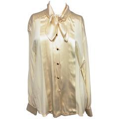 Escada by Margaretha Ley Cream Silk Buttom Up Blouse