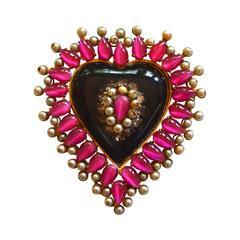 1940s Glass Heart and Bakelite Brooch