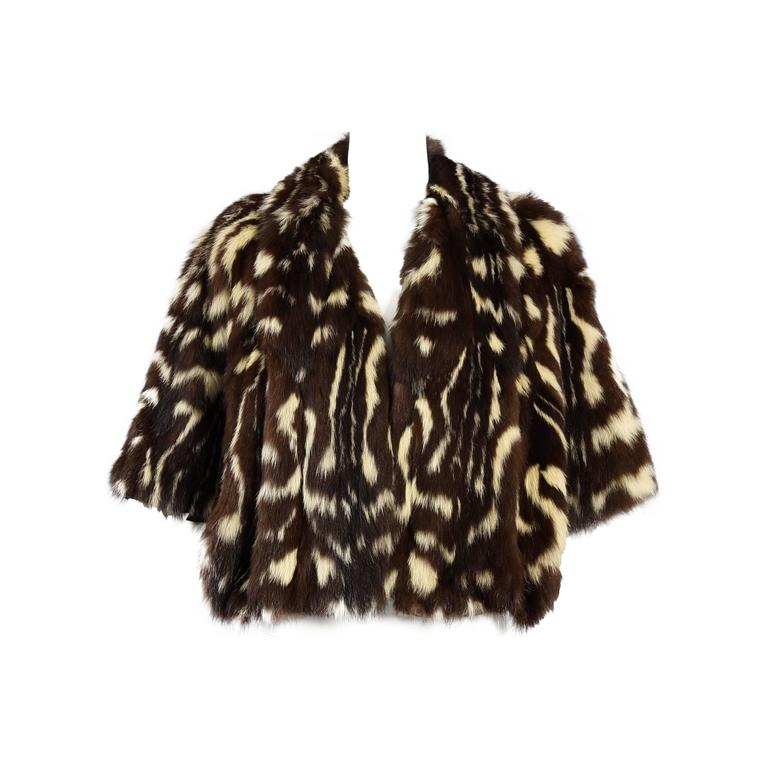 Stellar 1940s Spotted Skunk Civet Scalloped Fur Cape At