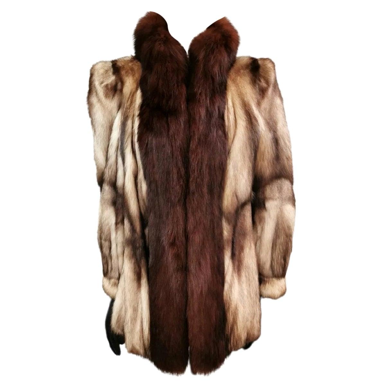 German sable fur coat fox fur trim size 12-14