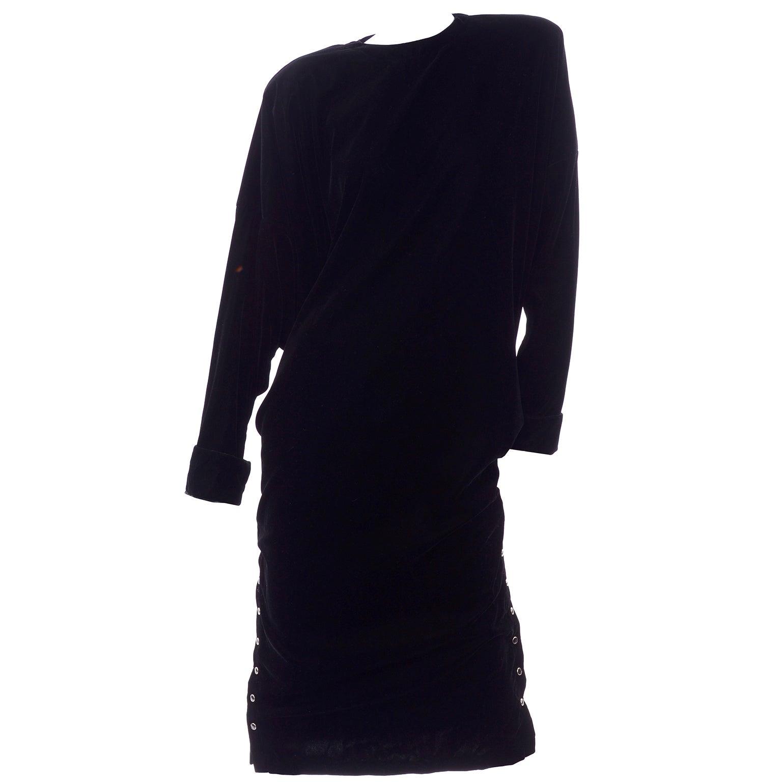 Norma Kamali 1980s Black Velvet Vintage Oversized  Dress With Snaps on Side