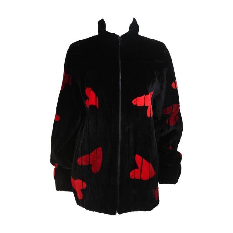 ZUKI Onyx Sheared beaver 'HEARTS' Jacket Made to Order For Sale