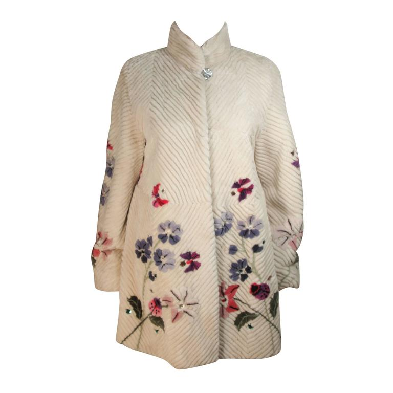 ZUKI 'Lavender Garden' Floral Fawn Sheared Beaver Coat Made to Order For Sale
