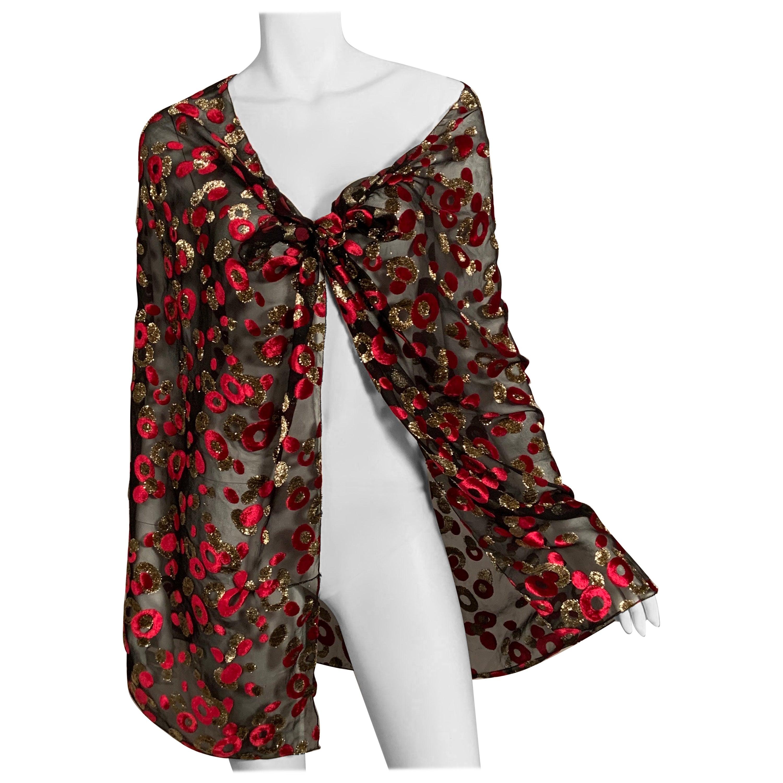 Red and Metallic Gold Voided Velvet on Sheer Black Silk Chiffon Shawl
