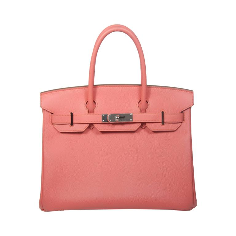 HERMES Birkin 30 Bag Rose Jaipur Pink Clemence Palladium Hardware For Sale