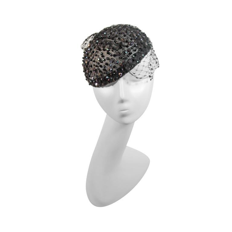 FRANK OLIVE Black Mesh Rhinestone Hat with Netting