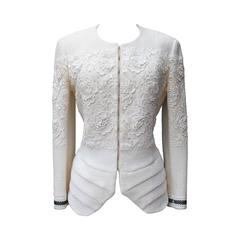 2000s Christian Dior Boutique Ivory Wool and Lace Jacket