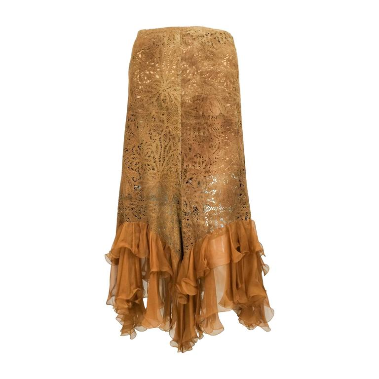 Emanuel Ungaro Suede Lace and Silk Ruffles Skirt - 1990s 1