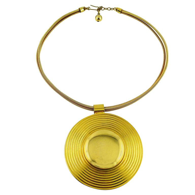 Lanvin Vintage Gold Modernist Choker Necklace For Sale