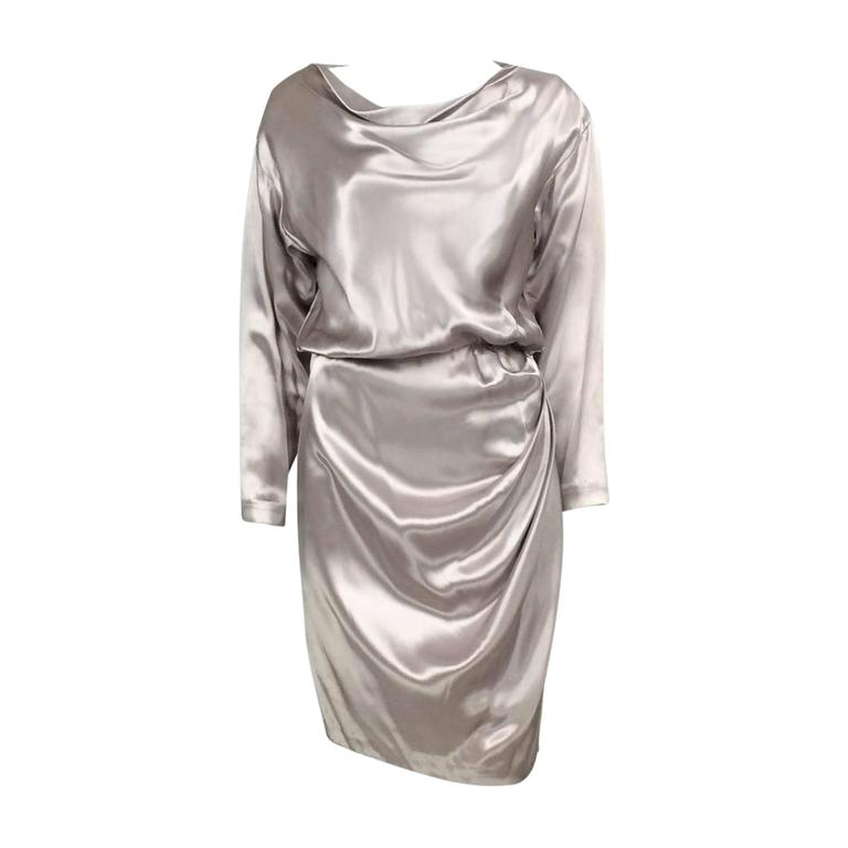 Yves Saint Laurent Silk Satin Draped Dress - 1980s 1