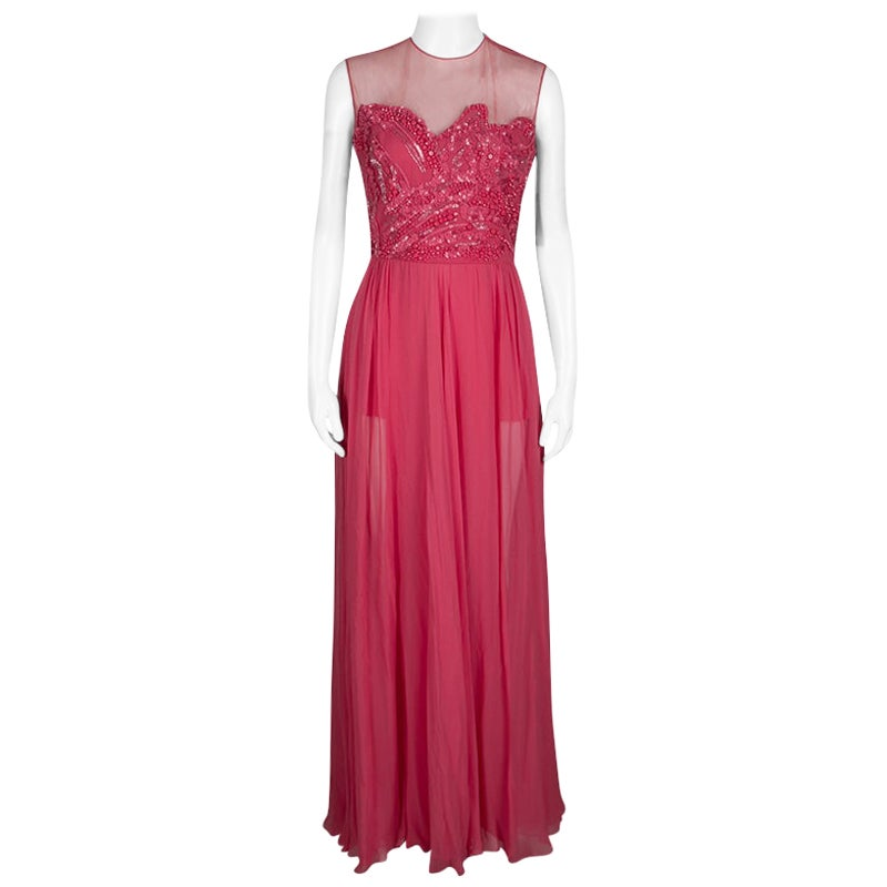 Elie Saab Begonia Embellished Silk Sleeveless Gown S