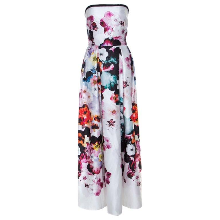 Elie Saab White Floral Printed Silk Satin Strapless Evening Gown S