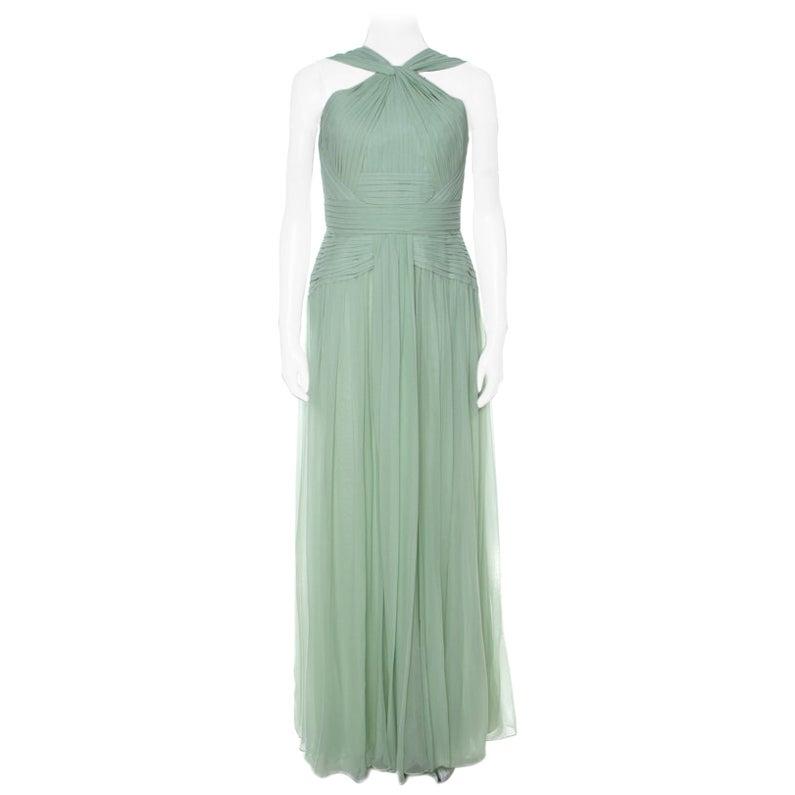 Elie Saab Mint Green Silk Georgette Pleated Dress S