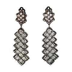 Rhodium & CZ FIligree Clip Earrings