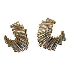 Baguette Crescent Clip Earrings