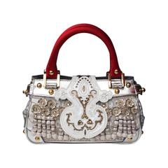 1990 Christian Lacroix Handbag with Silver Leather and Red Silk