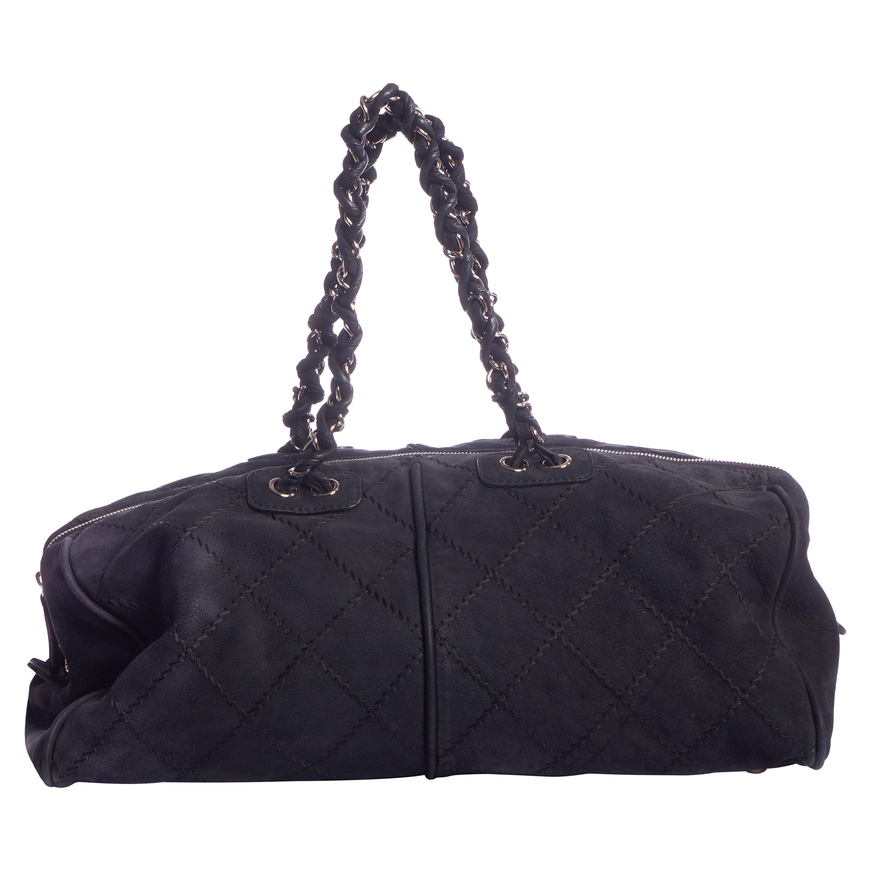 Chanel Black Suede Large Gym Bag