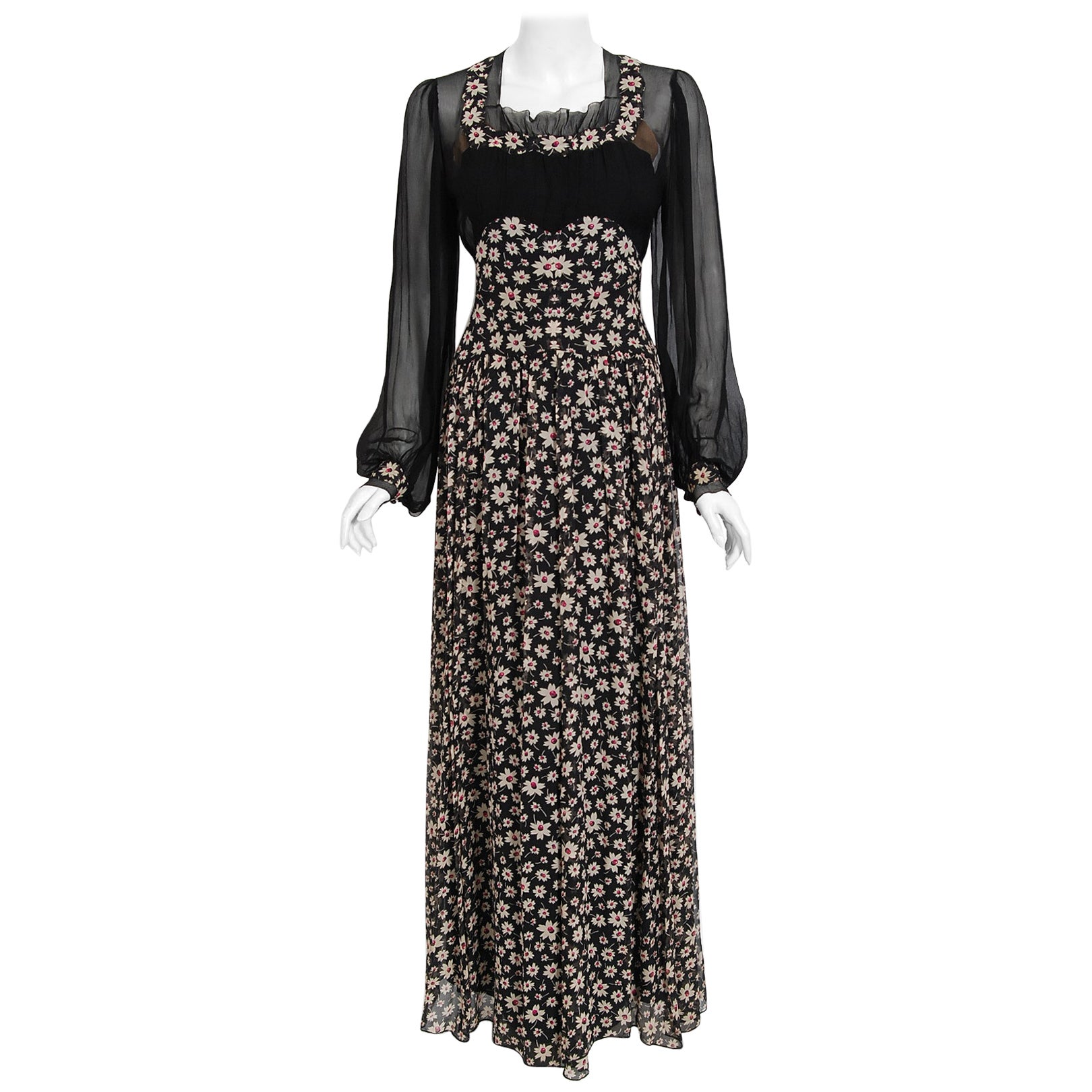 Vintage 1930's Bradley of London Couture Black Floral Chiffon Billow-Sleeve Gown