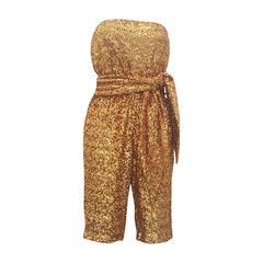 2000s Halston Heritage gold sequins jumpsuit NWOT