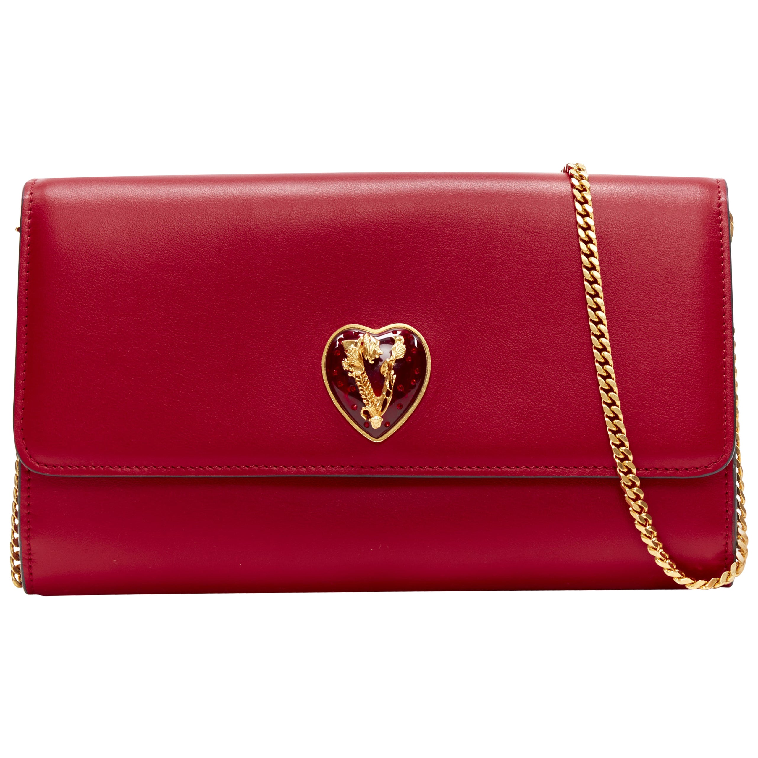 new VERSACE V-Mine Virtus V heart flap front wallet on chain WOC clutch bag