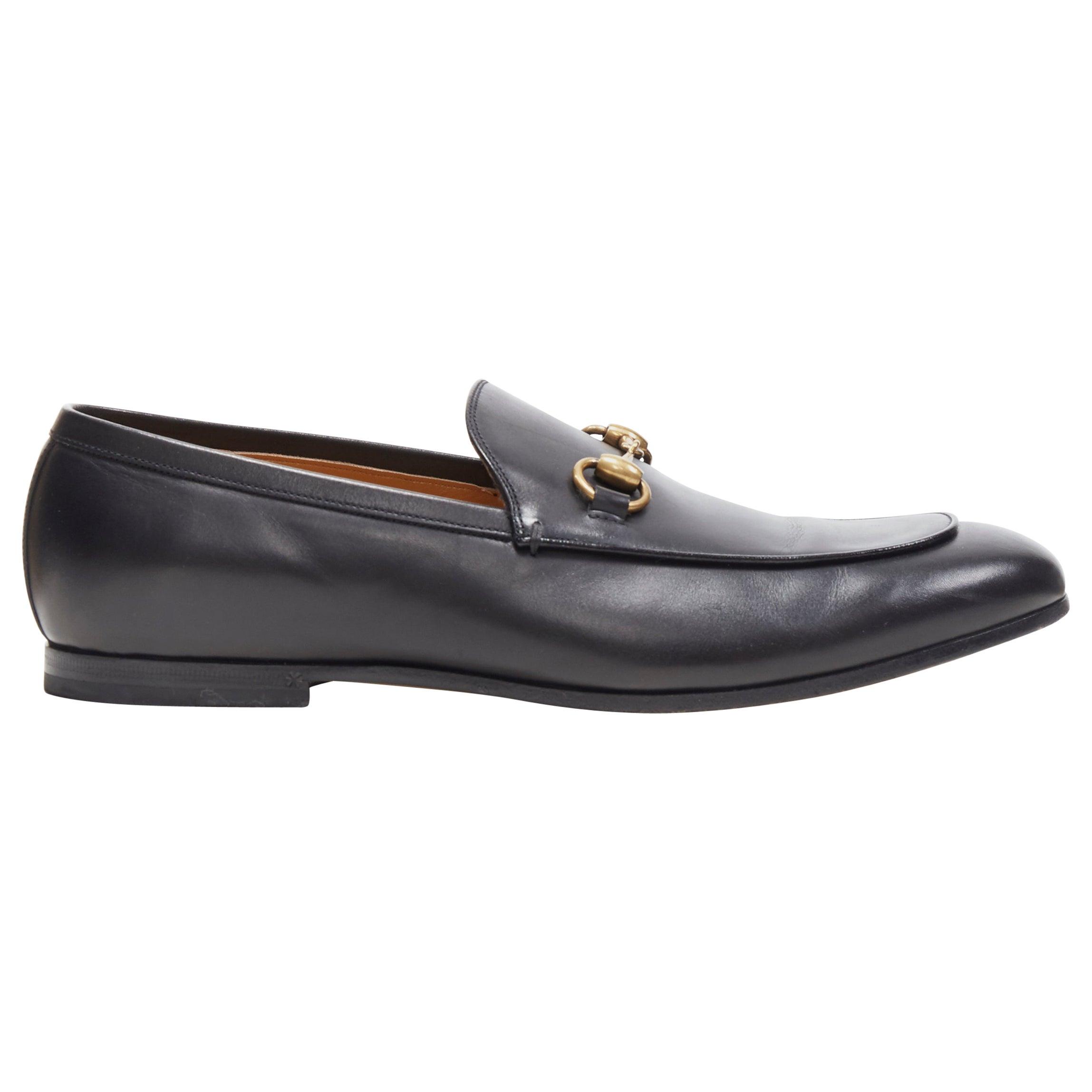 GUCCI Betis Glamour black leather gold horsebit buckle flat loafer UK8 EU42