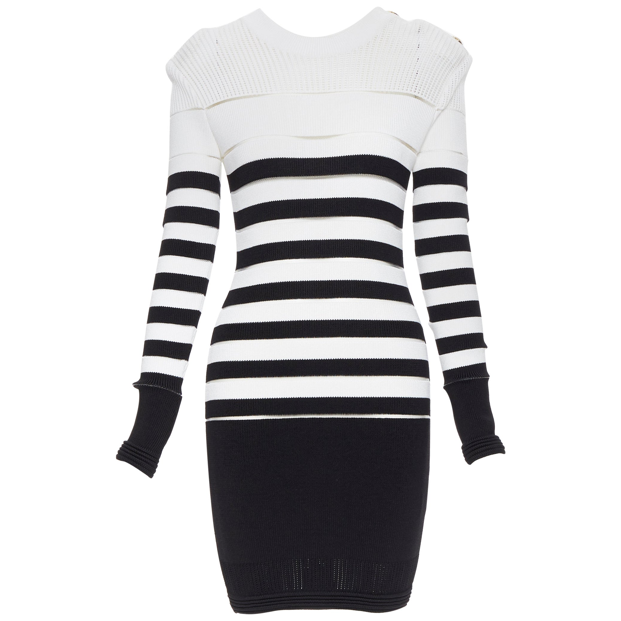 new BALMAIN black white sheer mesh stripe military crochet knit bodycon dress S