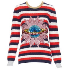 GUCCI MICHELE 100% wool red blue white striped UFO sequins embellished sweater M
