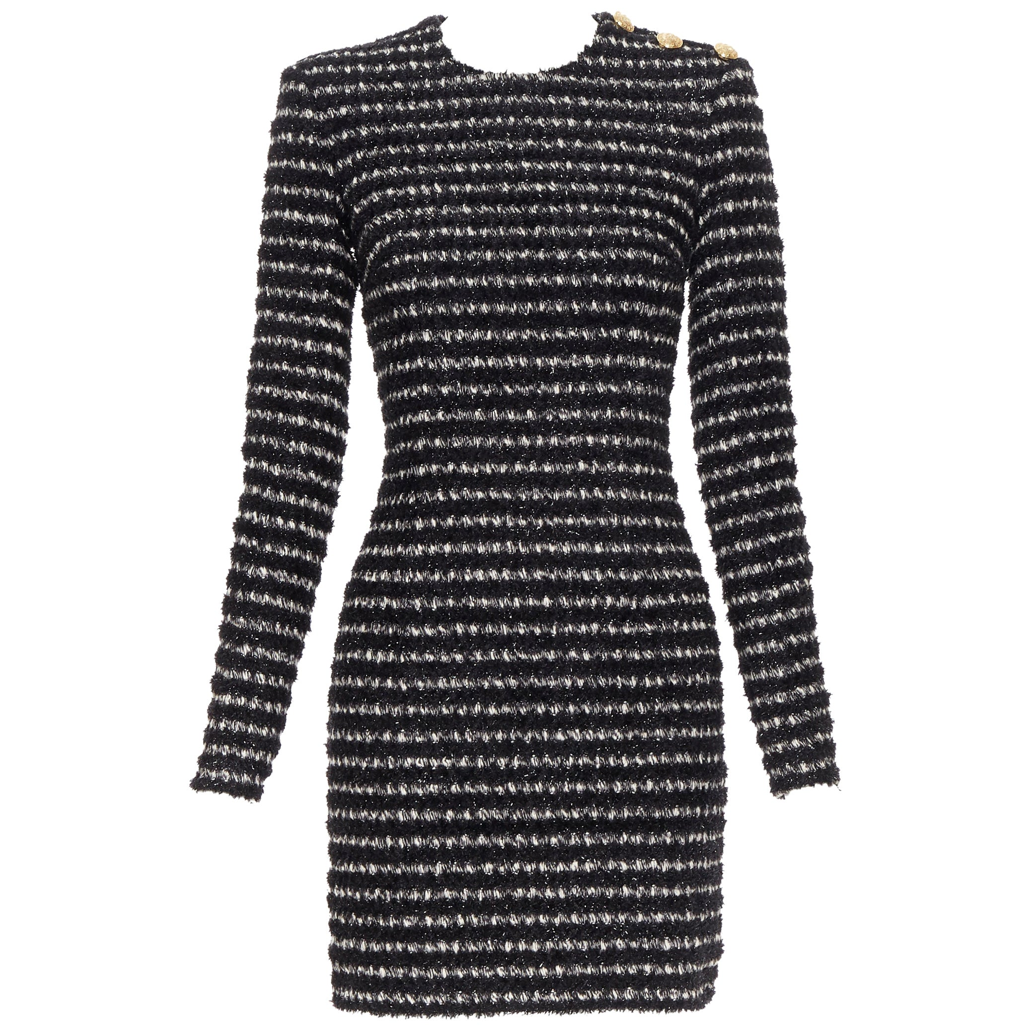 new BALMAIN black white stripe fluffy tweed knit military button mini dress Fr34