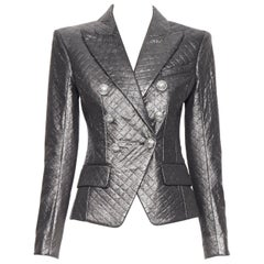 new BALMAIN silver diamond quilted military double breasted blazer jacket FR36 S