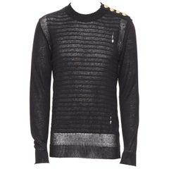 new BALMAIN 100% linen black stripe gold military button holey sweater top M