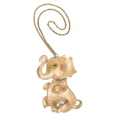 Rare Vintage Hattie Carnegie Gold Tone Elephant Necklace w/Articulated Head