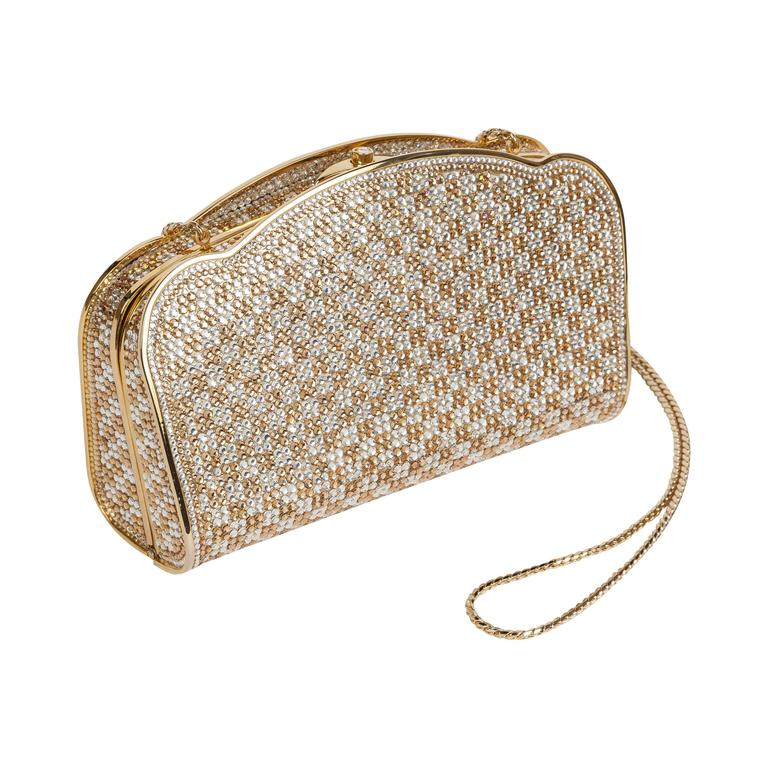 Judith Leiber Gold Silver Swarovski Crystal Minaudière Evening Bag Clutch For